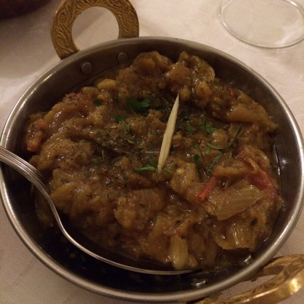 """Photo of Yoga Ristorante Indiano  by <a href=""""/members/profile/Arkie"""">Arkie</a> <br/>Vegan aubergine and onions  <br/> January 10, 2016  - <a href='/contact/abuse/image/68180/132007'>Report</a>"""