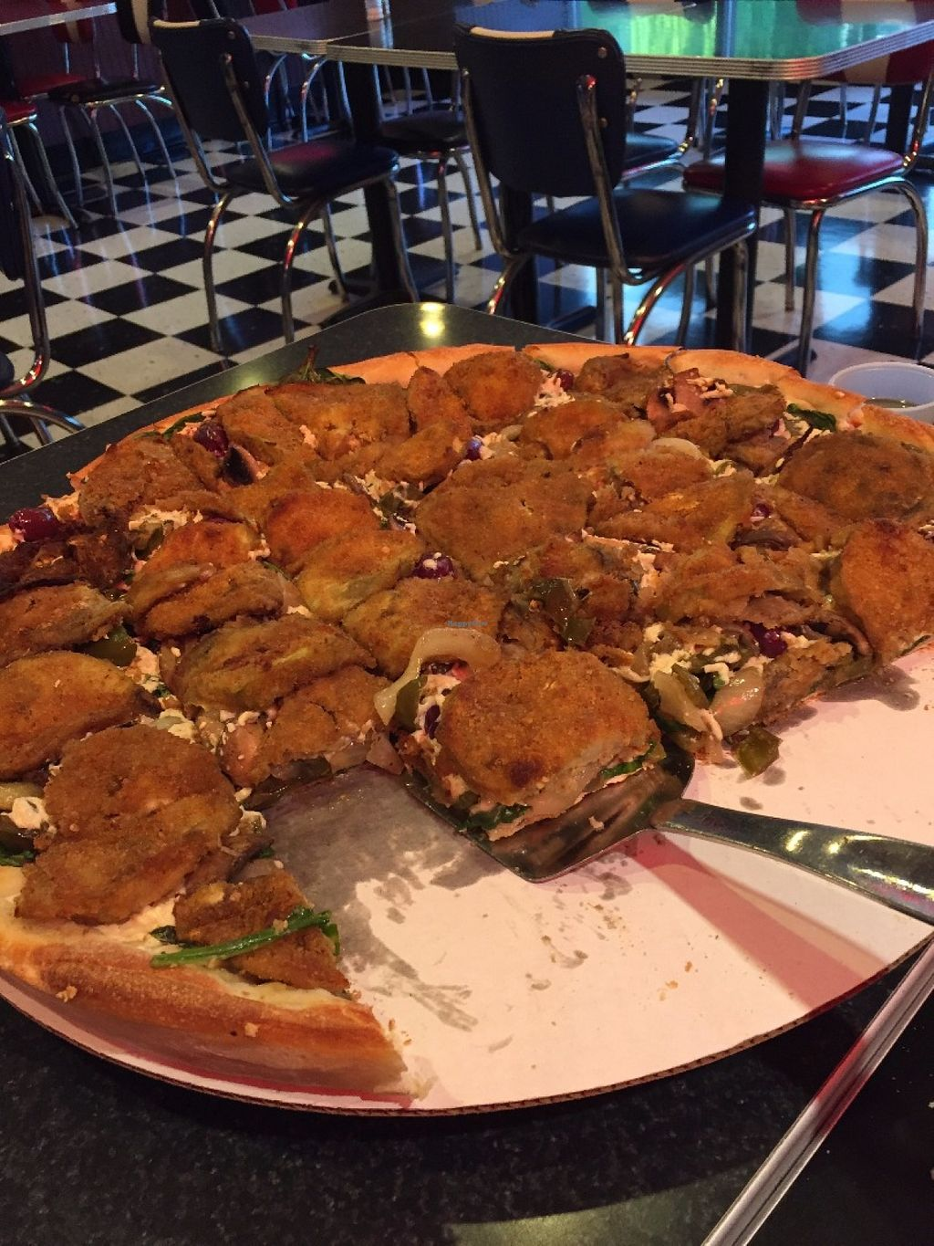 """Photo of Pizza D'Action  by <a href=""""/members/profile/HerbivoreJer"""">HerbivoreJer</a> <br/>XL veggie vegan combo <br/> June 4, 2016  - <a href='/contact/abuse/image/68185/152331'>Report</a>"""