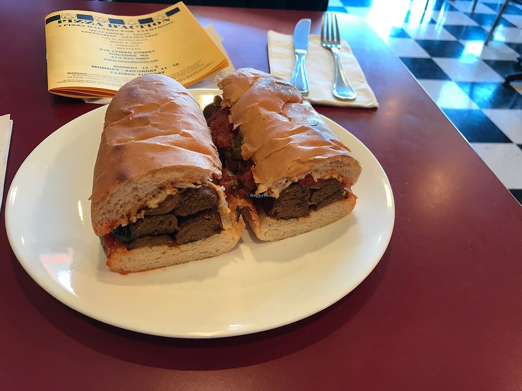 """Photo of Pizza D'Action  by <a href=""""/members/profile/nafanc"""">nafanc</a> <br/>Vegan sausage sandwich. Lots of sausage. Good value <br/> October 7, 2017  - <a href='/contact/abuse/image/68185/312901'>Report</a>"""
