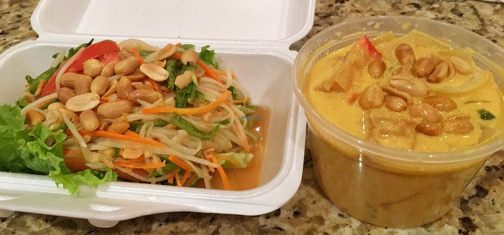 """Photo of Leela Thai  by <a href=""""/members/profile/sarah_v"""">sarah_v</a> <br/>Green papaya salad (With no fish sauce) & yellow curry with tofu <br/> April 7, 2018  - <a href='/contact/abuse/image/68191/381825'>Report</a>"""