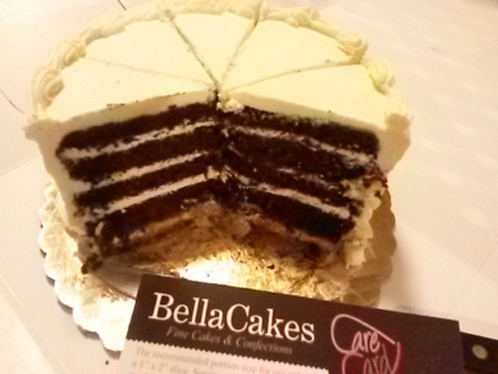 """Photo of BellaCakes  by <a href=""""/members/profile/elleembee"""">elleembee</a> <br/>Custom made vegan chocolate layer cake : she made this special custom cake on barely 2 days notice. It was well received by my parents, who said it was the best icing. She even provided care instructions <br/> January 11, 2016  - <a href='/contact/abuse/image/68219/132058'>Report</a>"""