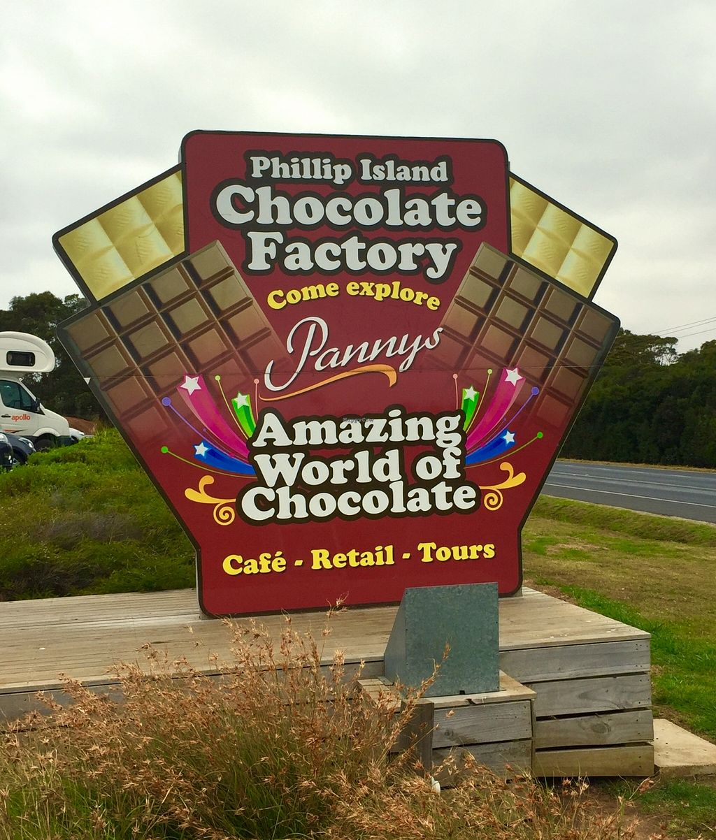 """Photo of Phillip Island Chocolate Factory  by <a href=""""/members/profile/karlaess"""">karlaess</a> <br/>Street sign <br/> January 11, 2016  - <a href='/contact/abuse/image/68231/132073'>Report</a>"""