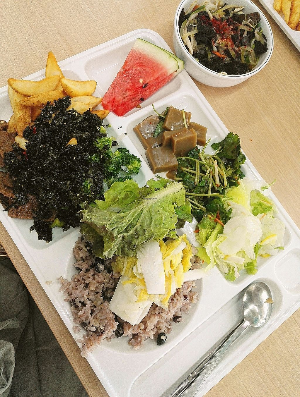 "Photo of Seoul National University Vegan Buffet - 서울대학교 채식뷔페  by <a href=""/members/profile/EOH"">EOH</a> <br/>fresh fruit always goes fast, and don't pass up on the acorn jelly! <br/> July 31, 2017  - <a href='/contact/abuse/image/68241/287271'>Report</a>"