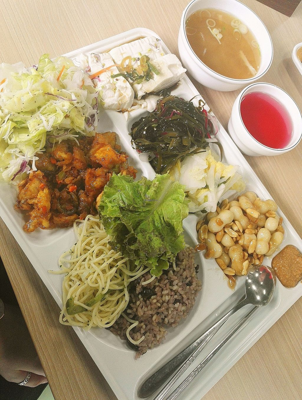 "Photo of Seoul National University Vegan Buffet - 서울대학교 채식뷔페  by <a href=""/members/profile/EOH"">EOH</a> <br/>an interesting day: spaghetti and sweet, sticky peanut tteok pieces  <br/> July 31, 2017  - <a href='/contact/abuse/image/68241/287273'>Report</a>"