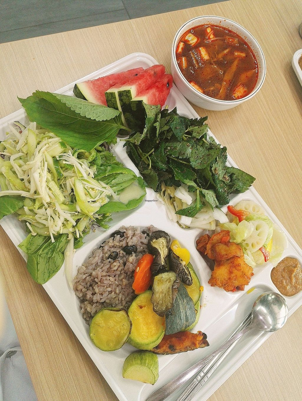 "Photo of Seoul National University Vegan Buffet - 서울대학교 채식뷔페  by <a href=""/members/profile/EOH"">EOH</a> <br/>the darker green leafy veg with the gochugaru on top...a must!! <br/> July 31, 2017  - <a href='/contact/abuse/image/68241/287275'>Report</a>"