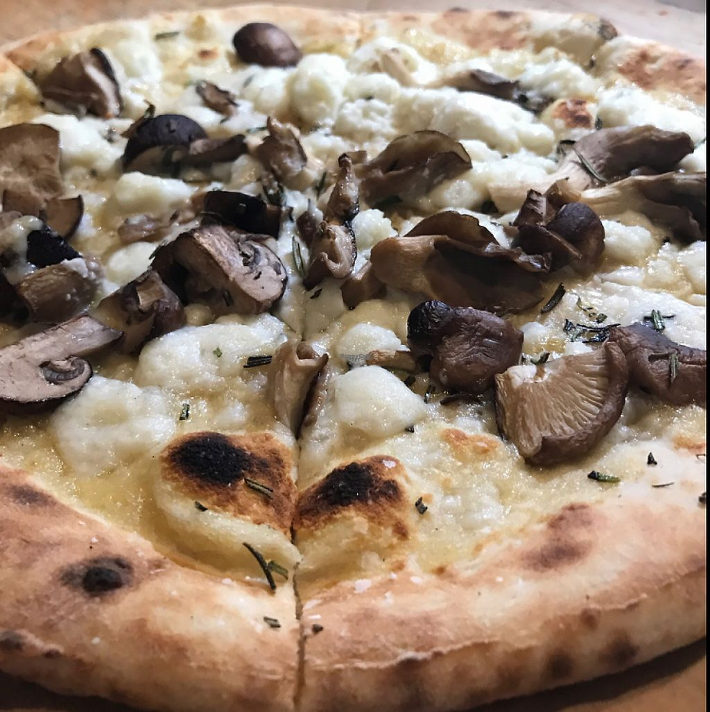 """Photo of Pizza Barbone  by <a href=""""/members/profile/ChelseaRatner"""">ChelseaRatner</a> <br/>Vegan Forest Mushroom Pizza <br/> March 20, 2017  - <a href='/contact/abuse/image/68305/238867'>Report</a>"""