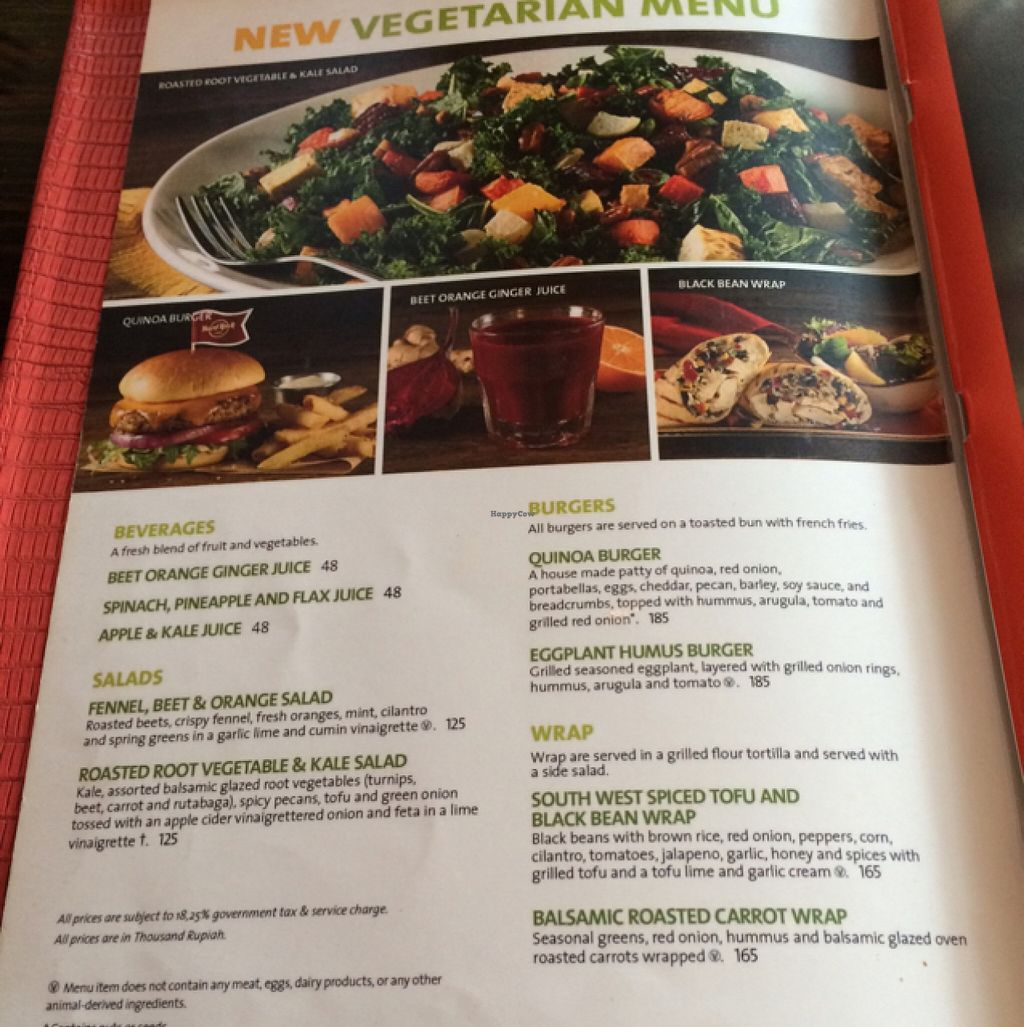 "Photo of Hard Rock Cafe  by <a href=""/members/profile/Siup"">Siup</a> <br/>vegetarian menu  <br/> January 14, 2016  - <a href='/contact/abuse/image/68315/132371'>Report</a>"