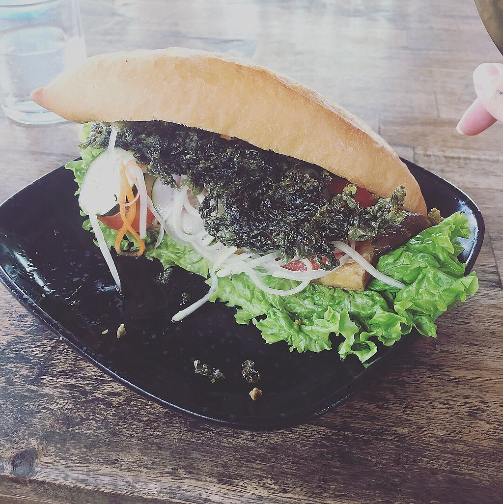"""Photo of Annen Vegetarian & Yoga  by <a href=""""/members/profile/themurphette"""">themurphette</a> <br/>Lemongrass tofu, mushroom and crispy seaweed sandwich  <br/> November 14, 2017  - <a href='/contact/abuse/image/68316/325467'>Report</a>"""