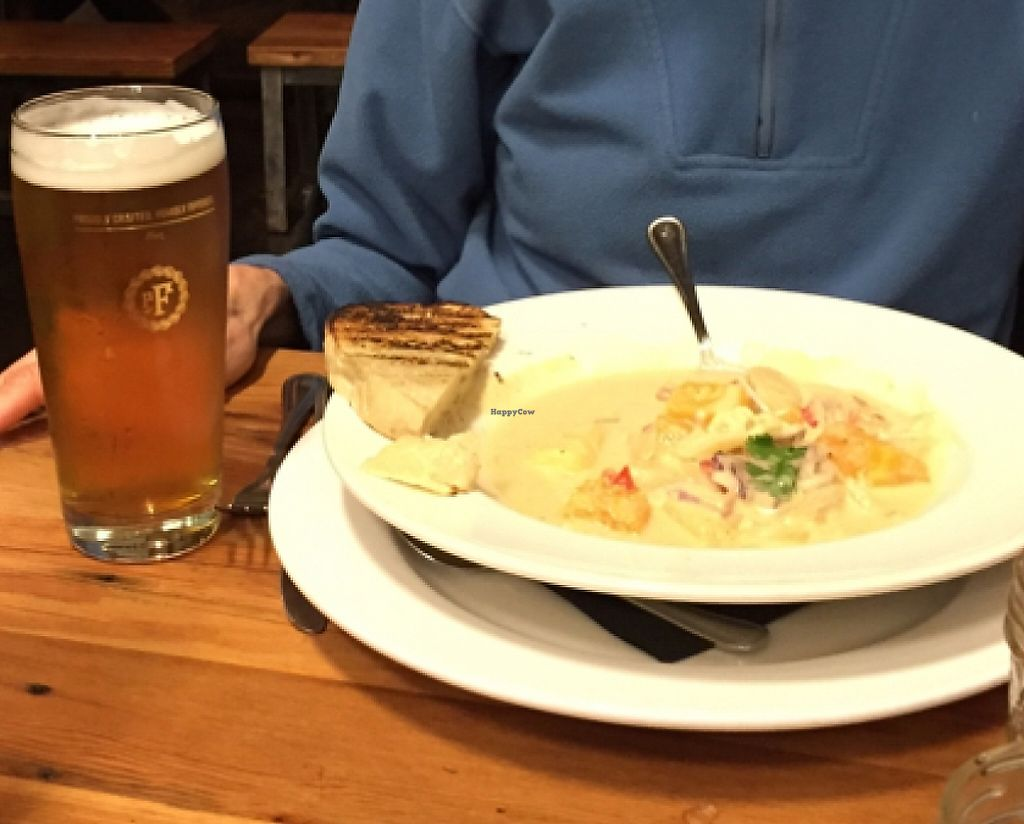 """Photo of Pfriem Family Brewers  by <a href=""""/members/profile/notameat"""">notameat</a> <br/>our vegan meal and great beer.  <br/> January 19, 2016  - <a href='/contact/abuse/image/68368/220398'>Report</a>"""