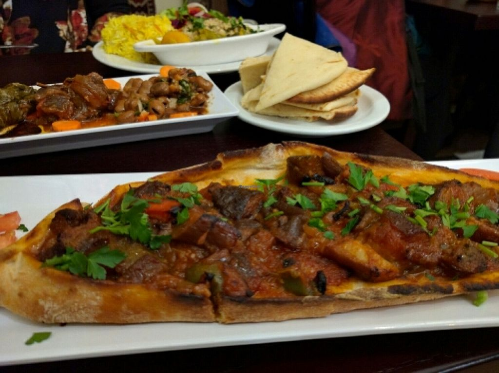 """Photo of Cafe Turko  by <a href=""""/members/profile/The%20Hungry%20Vegan"""">The Hungry Vegan</a> <br/>Vegan Pide <br/> January 24, 2016  - <a href='/contact/abuse/image/68370/133602'>Report</a>"""