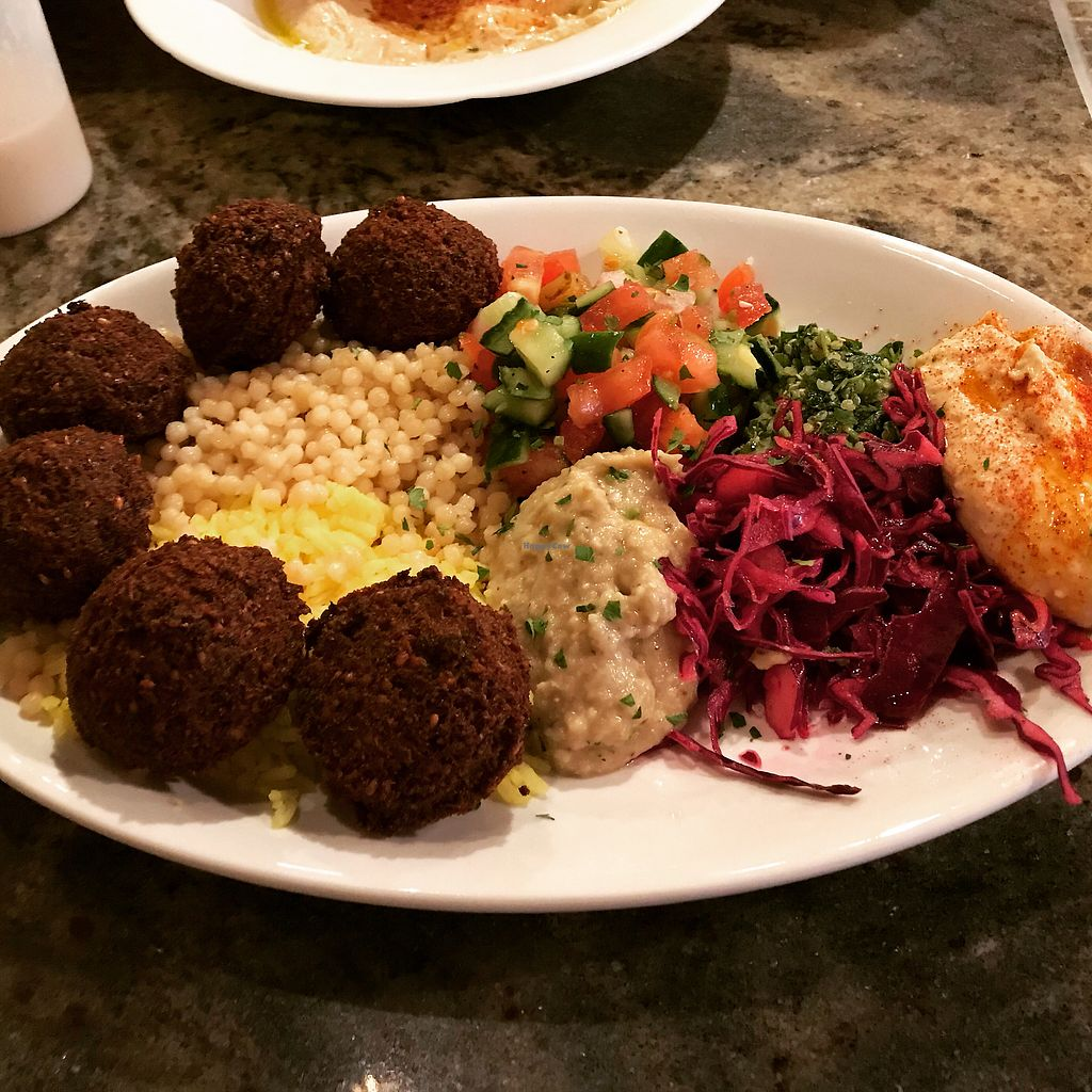 "Photo of Eli's Jeruselum Grill  by <a href=""/members/profile/VeganMamaAL"">VeganMamaAL</a> <br/>""Vegetarian plate"" which is actually vegan <br/> March 25, 2018  - <a href='/contact/abuse/image/68374/375639'>Report</a>"