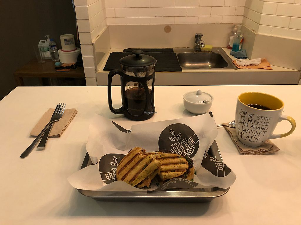 """Photo of Green Bar - Makati  by <a href=""""/members/profile/scotteg"""">scotteg</a> <br/>Hail Seitan with French press black coffee <br/> January 28, 2018  - <a href='/contact/abuse/image/68402/351732'>Report</a>"""