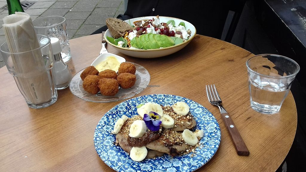"""Photo of By Lima  by <a href=""""/members/profile/Eefje"""">Eefje</a> <br/>Vegan pancakes and bitterballen (vegetarian salad in the back) <br/> August 24, 2017  - <a href='/contact/abuse/image/68406/296600'>Report</a>"""