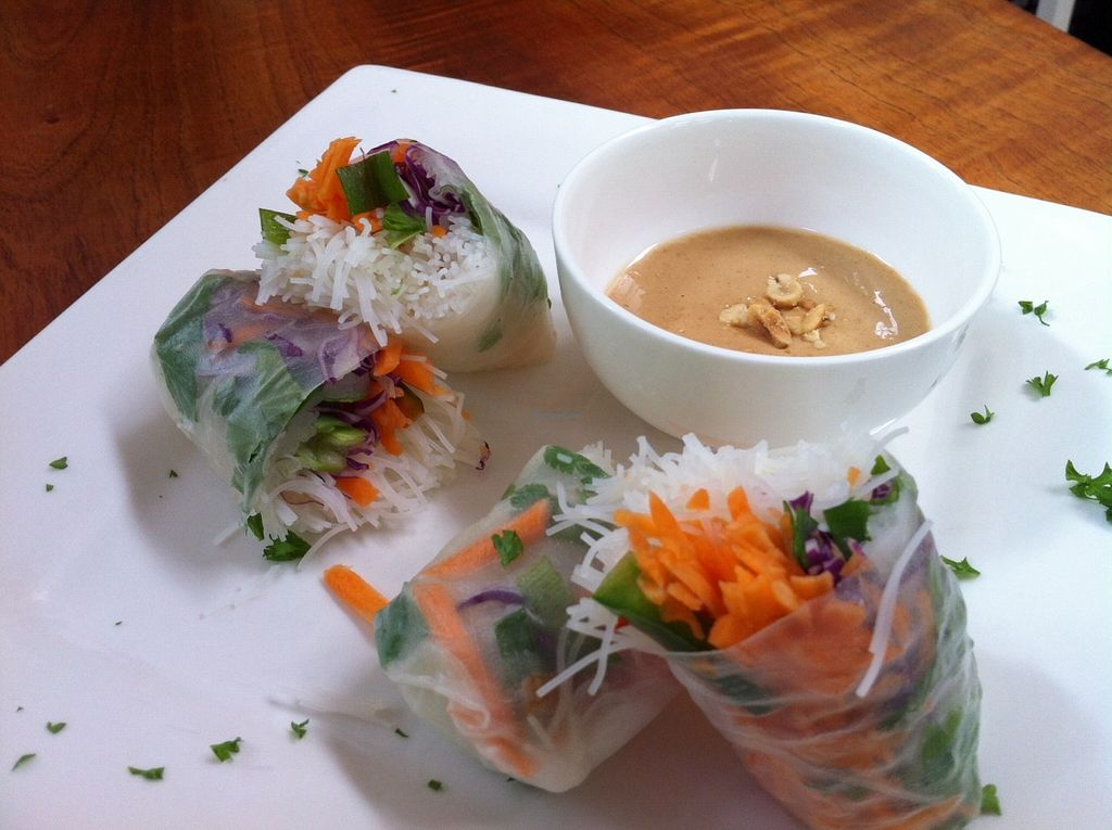 """Photo of CLOSED: Drishti Veggie Bar  by <a href=""""/members/profile/Kellyanndrishti"""">Kellyanndrishti</a> <br/>Spring Rolls with Thai Peanut Sauce, made with homemade peanut butter! <br/> January 23, 2016  - <a href='/contact/abuse/image/68430/133401'>Report</a>"""