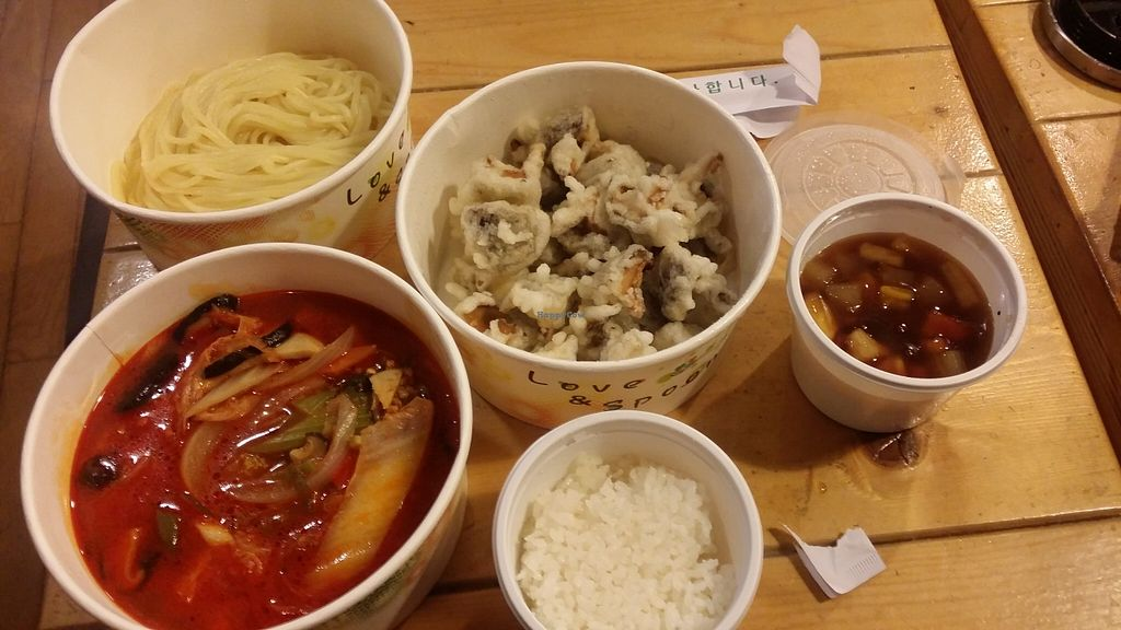 """Photo of WeiBao - 웨이바오  by <a href=""""/members/profile/melephant"""">melephant</a> <br/>top left jjambbong noodles bototm left jjambbong suace, middle is fried mushrooms for 표거버섯탕수육 and the sauce is top right <br/> May 3, 2016  - <a href='/contact/abuse/image/68456/147361'>Report</a>"""