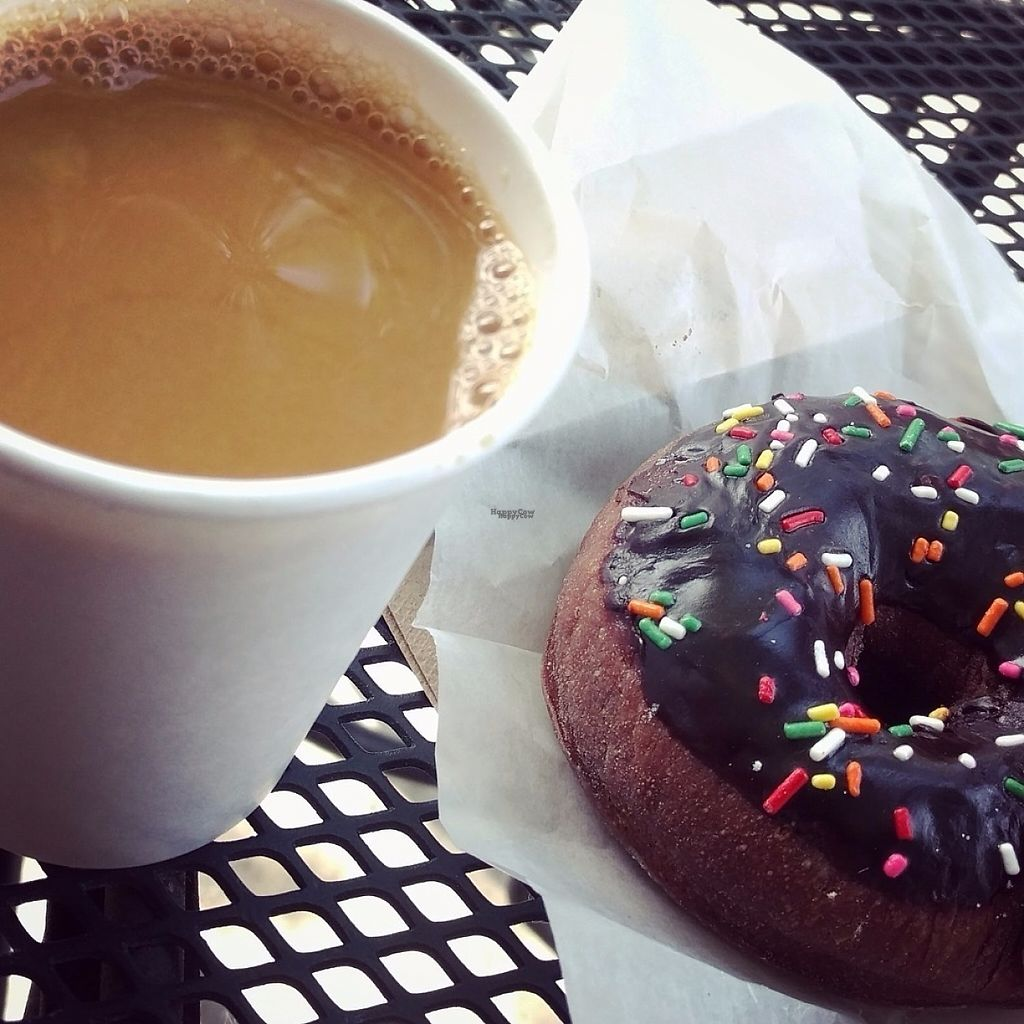 """Photo of West Town Bakery and Diner - West Town  by <a href=""""/members/profile/makemenervous"""">makemenervous</a> <br/>Vegan chocolate donut and soy latte <br/> March 18, 2017  - <a href='/contact/abuse/image/68457/238034'>Report</a>"""