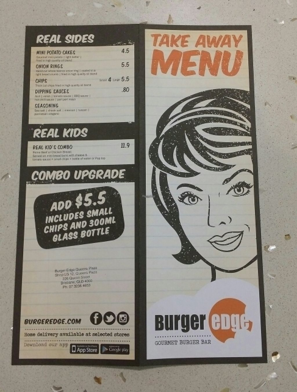 "Photo of CLOSED: Burger Edge - Queens Plaza  by <a href=""/members/profile/Mike%20Munsie"">Mike Munsie</a> <br/>take away menu <br/> December 5, 2016  - <a href='/contact/abuse/image/68474/197358'>Report</a>"