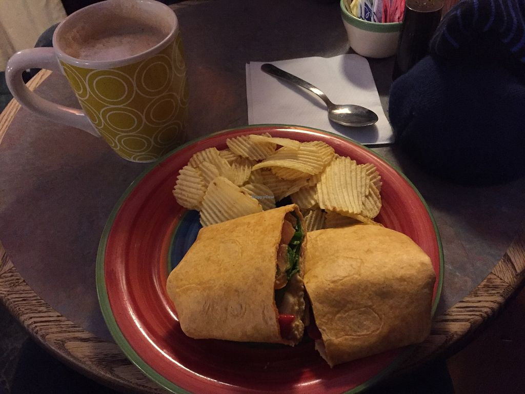 Photo of Professor Java's Coffee Sanctuary  by V3ganFoodie <br/>Vegan Tom's Very Delicious (Hazelnut and Vanilla Latte - almond milk) and a Veggie Hummer Wrap! <br/> January 22, 2016  - <a href='/contact/abuse/image/68515/133349'>Report</a>