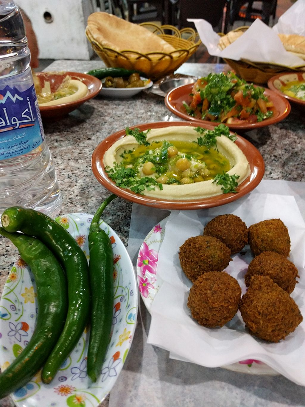"""Photo of Hashem's Son Restaurant  by <a href=""""/members/profile/The%20Hungry%20Vegan"""">The Hungry Vegan</a> <br/>Roasted Peppers, falafel, hummus, fatoush, arabic bread <br/> January 22, 2016  - <a href='/contact/abuse/image/68528/133363'>Report</a>"""