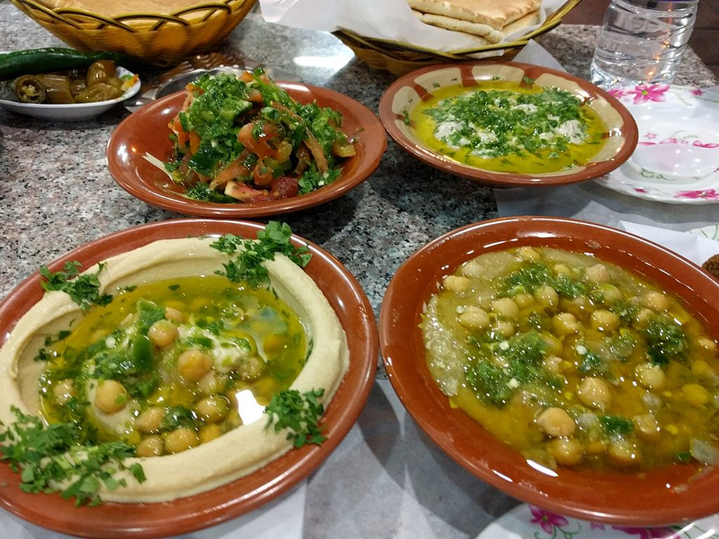"""Photo of Hashem's Son Restaurant  by <a href=""""/members/profile/The%20Hungry%20Vegan"""">The Hungry Vegan</a> <br/>Hummus, fatoush, moutabal, mystery dish <br/> January 22, 2016  - <a href='/contact/abuse/image/68528/133364'>Report</a>"""