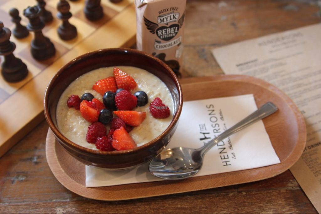 """Photo of Henderson's - Holyrood  by <a href=""""/members/profile/SofiaWigren"""">SofiaWigren</a> <br/>porridge with berries and soy milk  <br/> November 3, 2016  - <a href='/contact/abuse/image/68540/186339'>Report</a>"""