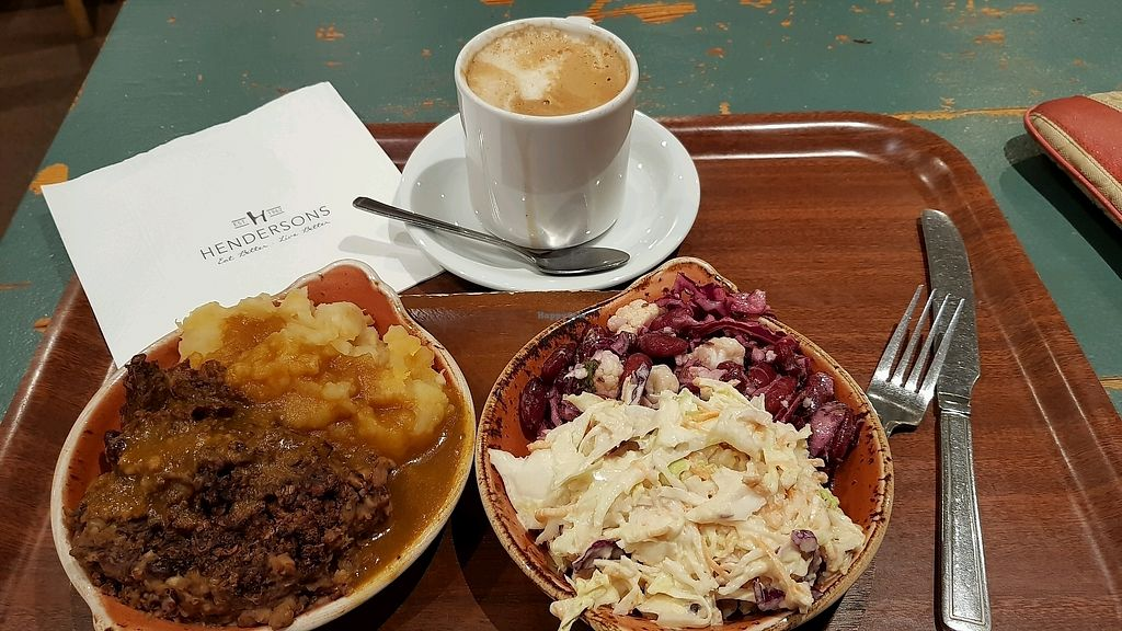 """Photo of Henderson's - Holyrood  by <a href=""""/members/profile/MoniqueNelson"""">MoniqueNelson</a> <br/>Lite lunch! Vegan Haggis & mash,  pouts 2 small salads  <br/> January 15, 2018  - <a href='/contact/abuse/image/68540/347008'>Report</a>"""