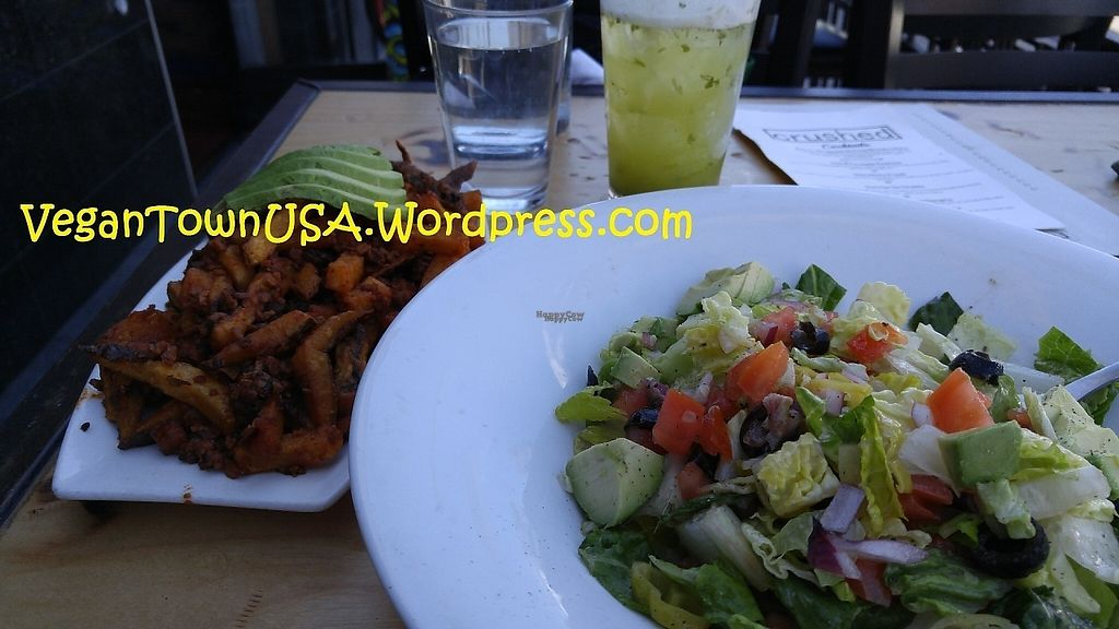 """Photo of Crushed  by <a href=""""/members/profile/thrillracerESQ"""">thrillracerESQ</a> <br/>Vegan version salad and soyrizo fries topped with avocado at Crushed in Pacific Beach <br/> January 11, 2017  - <a href='/contact/abuse/image/68577/211232'>Report</a>"""