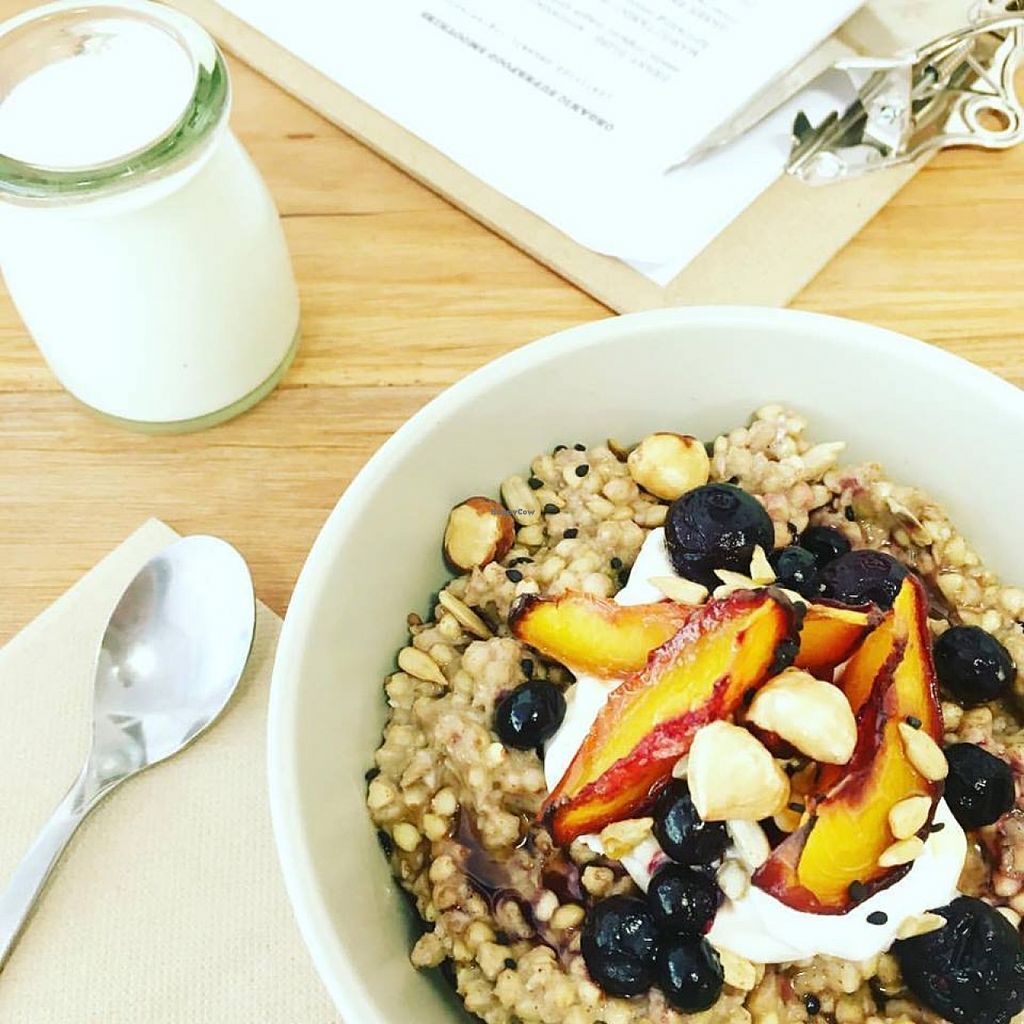 """Photo of Nourish'd Eatery  by <a href=""""/members/profile/community"""">community</a> <br/> rhubarb, peach & blueberries, buckwheat cinnamon + ginger spiced porridge <br/> February 4, 2016  - <a href='/contact/abuse/image/68591/134940'>Report</a>"""