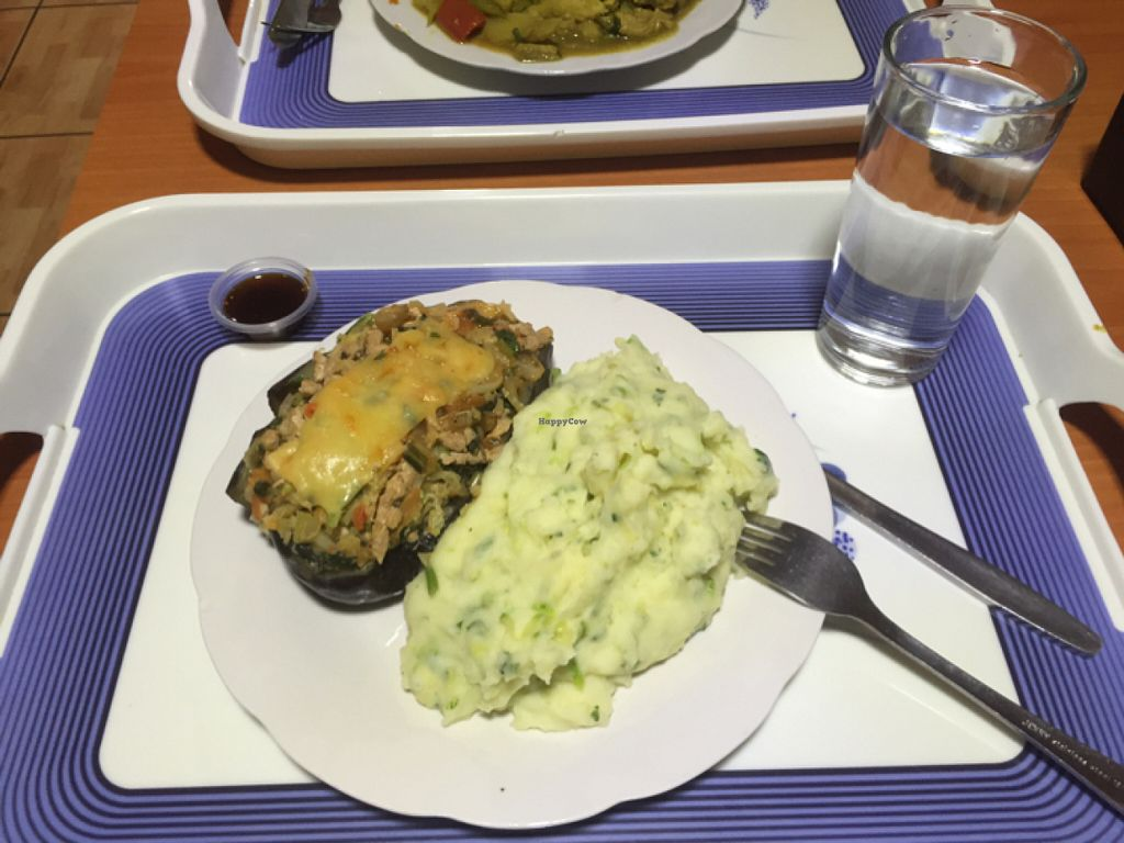 """Photo of Vegetariano Naturista Cheng Nan  by <a href=""""/members/profile/kim2121"""">kim2121</a> <br/>stuffed eggplant and mashed potatoes/zucchini  <br/> June 21, 2016  - <a href='/contact/abuse/image/68594/155333'>Report</a>"""