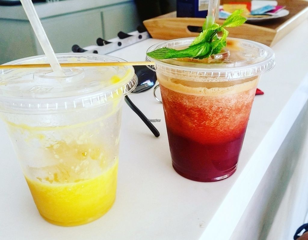 """Photo of Natural Cafe  by <a href=""""/members/profile/Bisousnours97150"""">Bisousnours97150</a> <br/>Juices named """"sunshine"""" and """"red"""" <br/> September 9, 2016  - <a href='/contact/abuse/image/68630/174674'>Report</a>"""