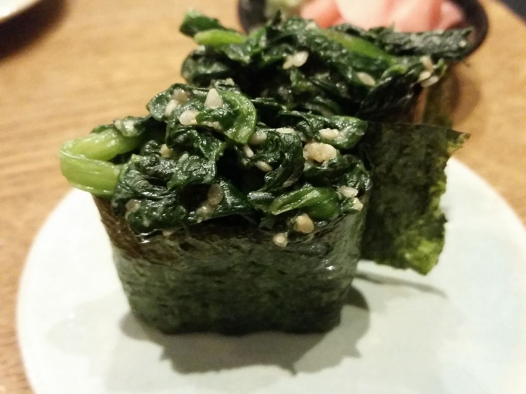 """Photo of Youmiko Vegan Sushi  by <a href=""""/members/profile/eric"""">eric</a> <br/>bok choy sushi <br/> May 11, 2016  - <a href='/contact/abuse/image/68693/148464'>Report</a>"""