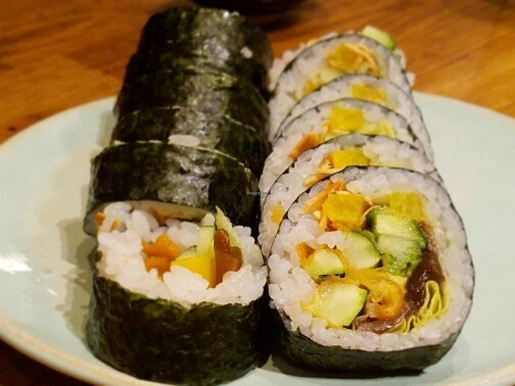 """Photo of Youmiko Vegan Sushi  by <a href=""""/members/profile/kenvegan"""">kenvegan</a> <br/>Futomaki Sushi <br/> May 11, 2016  - <a href='/contact/abuse/image/68693/148521'>Report</a>"""