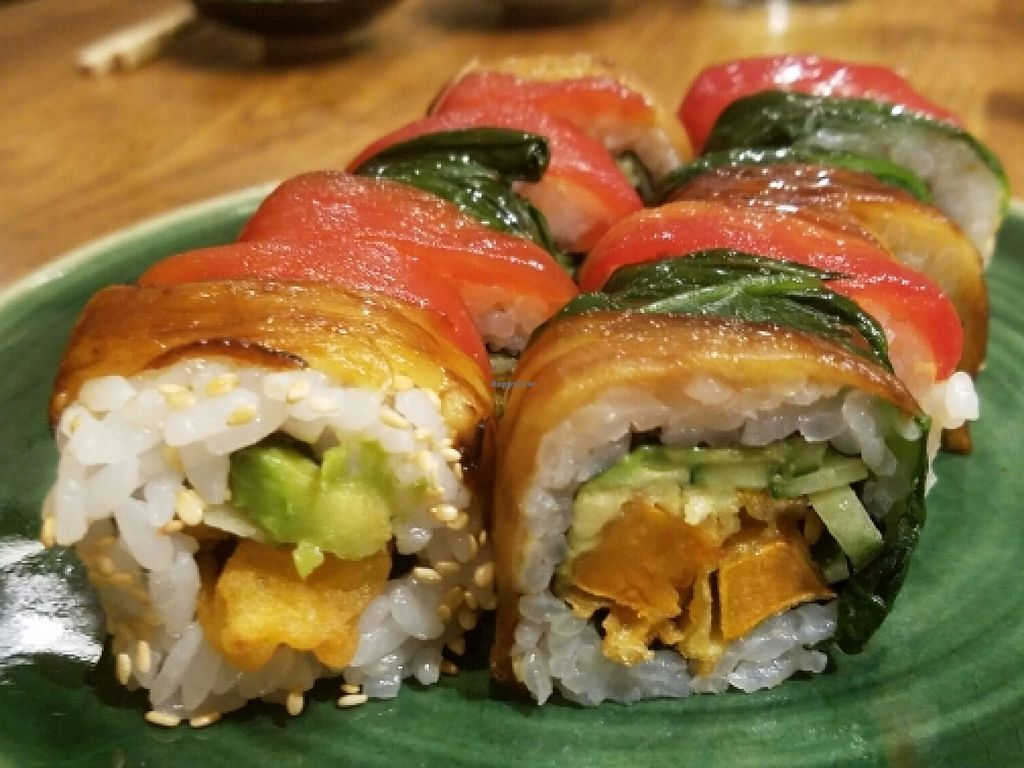 """Photo of Youmiko Vegan Sushi  by <a href=""""/members/profile/kenvegan"""">kenvegan</a> <br/>Rainbow Uramaki  <br/> May 11, 2016  - <a href='/contact/abuse/image/68693/148523'>Report</a>"""