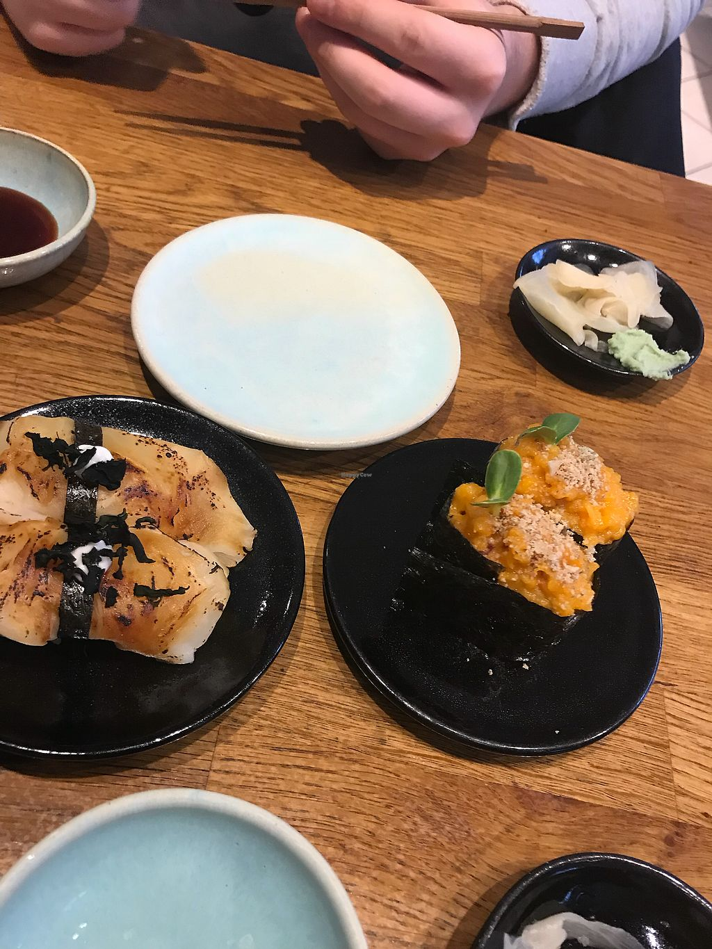 """Photo of Youmiko Vegan Sushi  by <a href=""""/members/profile/ellengdx"""">ellengdx</a> <br/>On the left: teriyaki celeriac, right: pumpkin and onion mash. Incredibly tasty and clever combinations! <br/> January 8, 2018  - <a href='/contact/abuse/image/68693/344436'>Report</a>"""