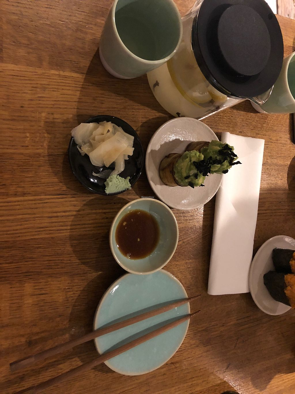"""Photo of Youmiko Vegan Sushi  by <a href=""""/members/profile/ElmiraDewes"""">ElmiraDewes</a> <br/>Eggplant sushi and ginger tea  <br/> January 27, 2018  - <a href='/contact/abuse/image/68693/351547'>Report</a>"""