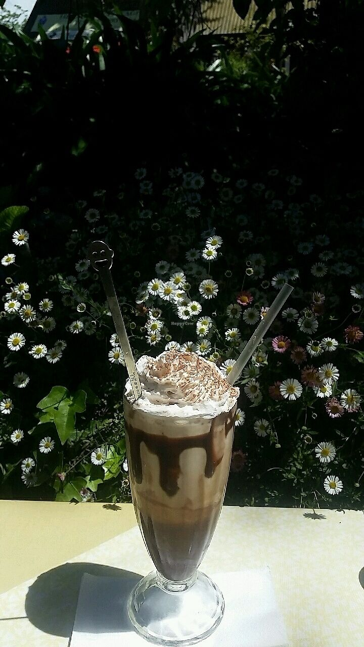 """Photo of Herbee's Garden Cafe  by <a href=""""/members/profile/FussyVegan"""">FussyVegan</a> <br/>Iced mocha with vegan whipped cream and ice cream! <br/> October 24, 2017  - <a href='/contact/abuse/image/68780/318282'>Report</a>"""