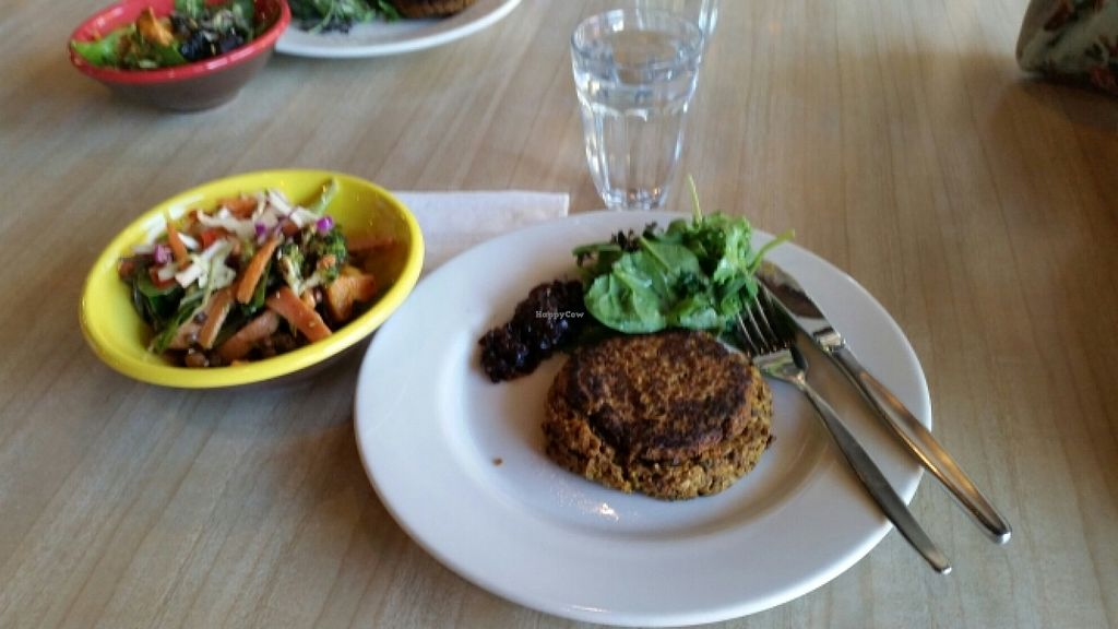 """Photo of Ritual Coffee Company  by <a href=""""/members/profile/AndyTheVWDude"""">AndyTheVWDude</a> <br/>Vegan chickpea, salsa & eggplant fritter <br/> April 19, 2016  - <a href='/contact/abuse/image/68847/145379'>Report</a>"""