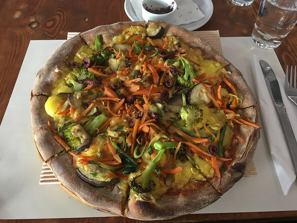 """Photo of Mystic Pizza - Ferekydou  by <a href=""""/members/profile/Alina%26Deian"""">Alina&Deian</a> <br/>Vegan green pizza <br/> November 30, 2017  - <a href='/contact/abuse/image/68852/330785'>Report</a>"""