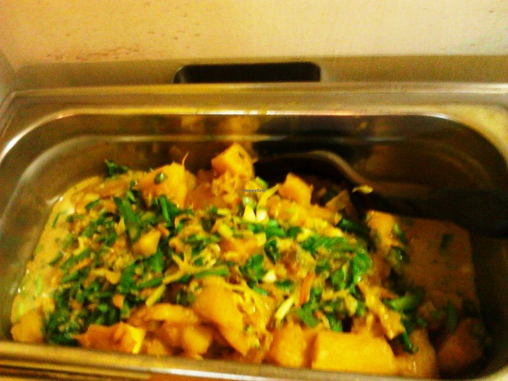 """Photo of Roots Reggae Vegetarian Cafe  by <a href=""""/members/profile/RootsReggae"""">RootsReggae</a> <br/>Steamed breadfruit in coconut milk sap with freshly cut chives on top.  <br/> September 30, 2017  - <a href='/contact/abuse/image/68862/310192'>Report</a>"""