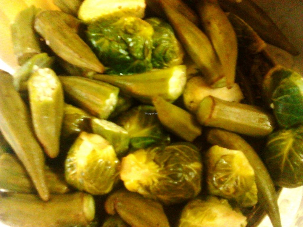 """Photo of Roots Reggae Vegetarian Cafe  by <a href=""""/members/profile/RootsReggae"""">RootsReggae</a> <br/>Steamed veg - Okras and Brussel sprouts <br/> September 30, 2017  - <a href='/contact/abuse/image/68862/310193'>Report</a>"""