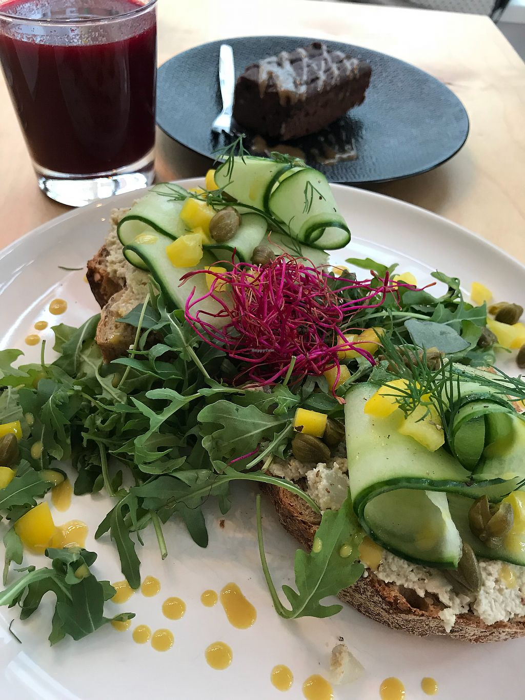 """Photo of Happy Earth  by <a href=""""/members/profile/Micca"""">Micca</a> <br/>""""Tuna"""" sandwich, beet juice and homemade brownie <br/> November 12, 2017  - <a href='/contact/abuse/image/68882/324685'>Report</a>"""