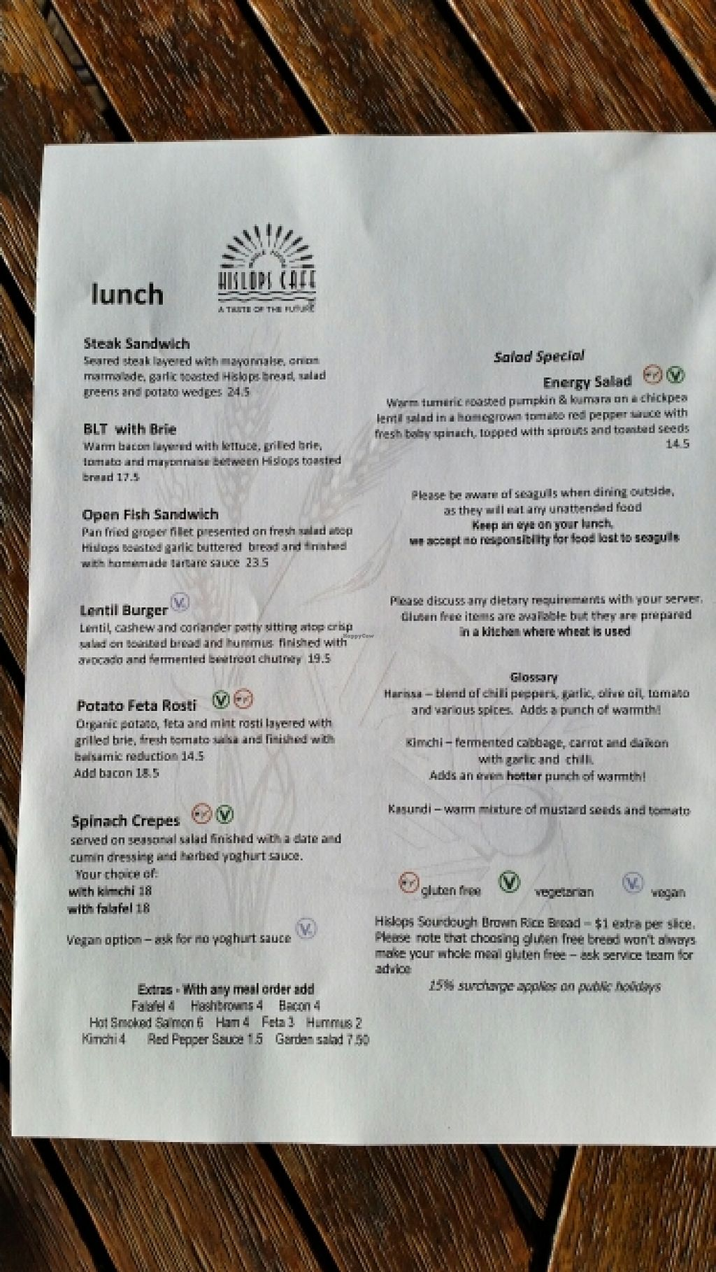 """Photo of Hislop's Cafe  by <a href=""""/members/profile/AndyTheVWDude"""">AndyTheVWDude</a> <br/>Hislops Lunch menu April 2016 <br/> April 19, 2016  - <a href='/contact/abuse/image/6890/145375'>Report</a>"""