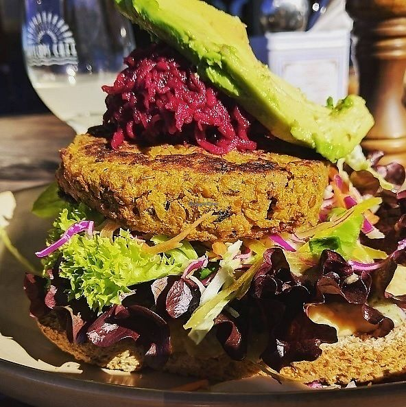 """Photo of Hislop's Cafe  by <a href=""""/members/profile/DaisyGould"""">DaisyGould</a> <br/>Lentil burger at Hislop's Cafe, Kaikoura <br/> September 6, 2017  - <a href='/contact/abuse/image/6890/301350'>Report</a>"""