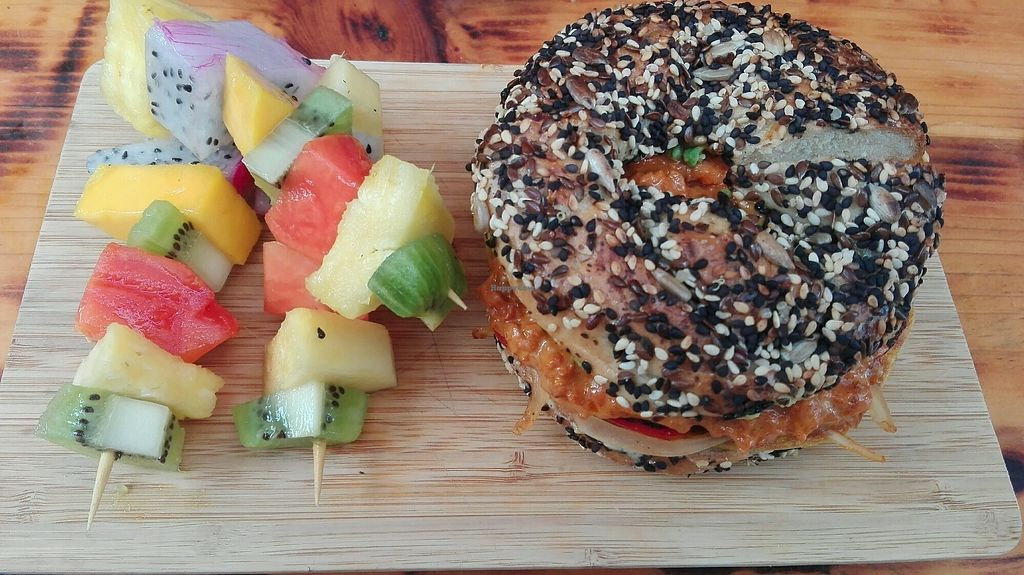 "Photo of The Pitted Date  by <a href=""/members/profile/Alicia%20Spanidutch"">Alicia Spanidutch</a> <br/>bagel with vegan egg and chorizo <br/> September 2, 2017  - <a href='/contact/abuse/image/68915/299962'>Report</a>"