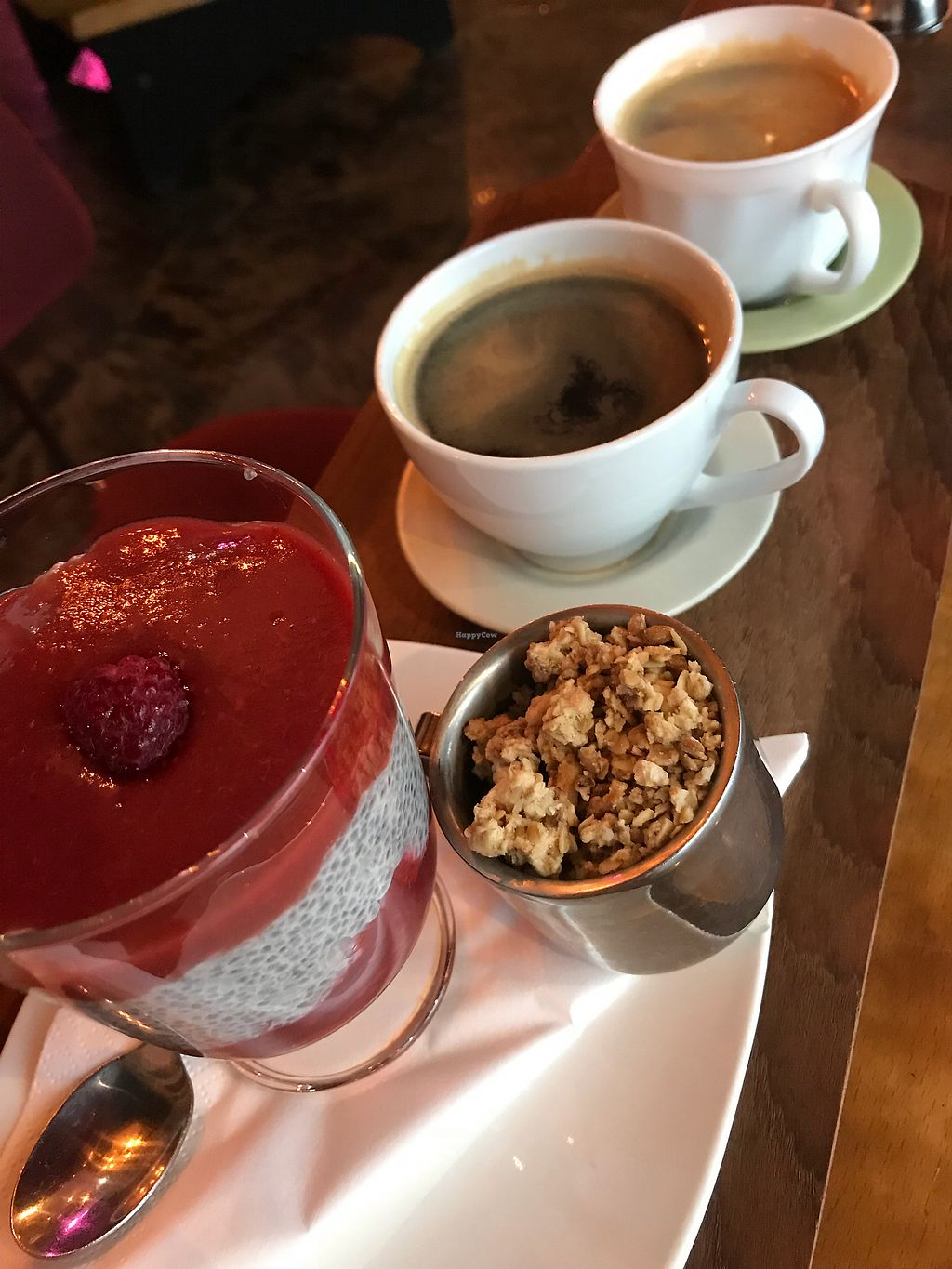 """Photo of Kaffi Vinyl  by <a href=""""/members/profile/johnnyh"""">johnnyh</a> <br/>Coffee ☕️ and chia seed raspberry pudding.  <br/> October 27, 2017  - <a href='/contact/abuse/image/68917/319220'>Report</a>"""