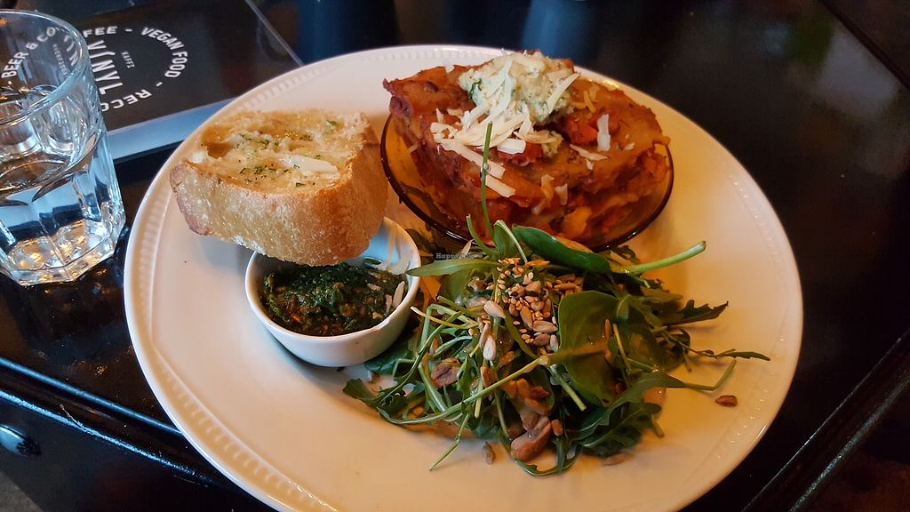 """Photo of Kaffi Vinyl  by <a href=""""/members/profile/nafanc"""">nafanc</a> <br/>Lasagne + salad + pesto toast <br/> March 19, 2018  - <a href='/contact/abuse/image/68917/372726'>Report</a>"""