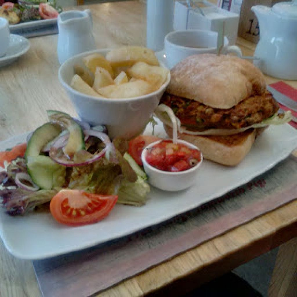 """Photo of Bashall Barn Visitor Centre  by <a href=""""/members/profile/Veganolive1"""">Veganolive1</a> <br/>Chickpea burger <br/> January 29, 2016  - <a href='/contact/abuse/image/68936/134103'>Report</a>"""