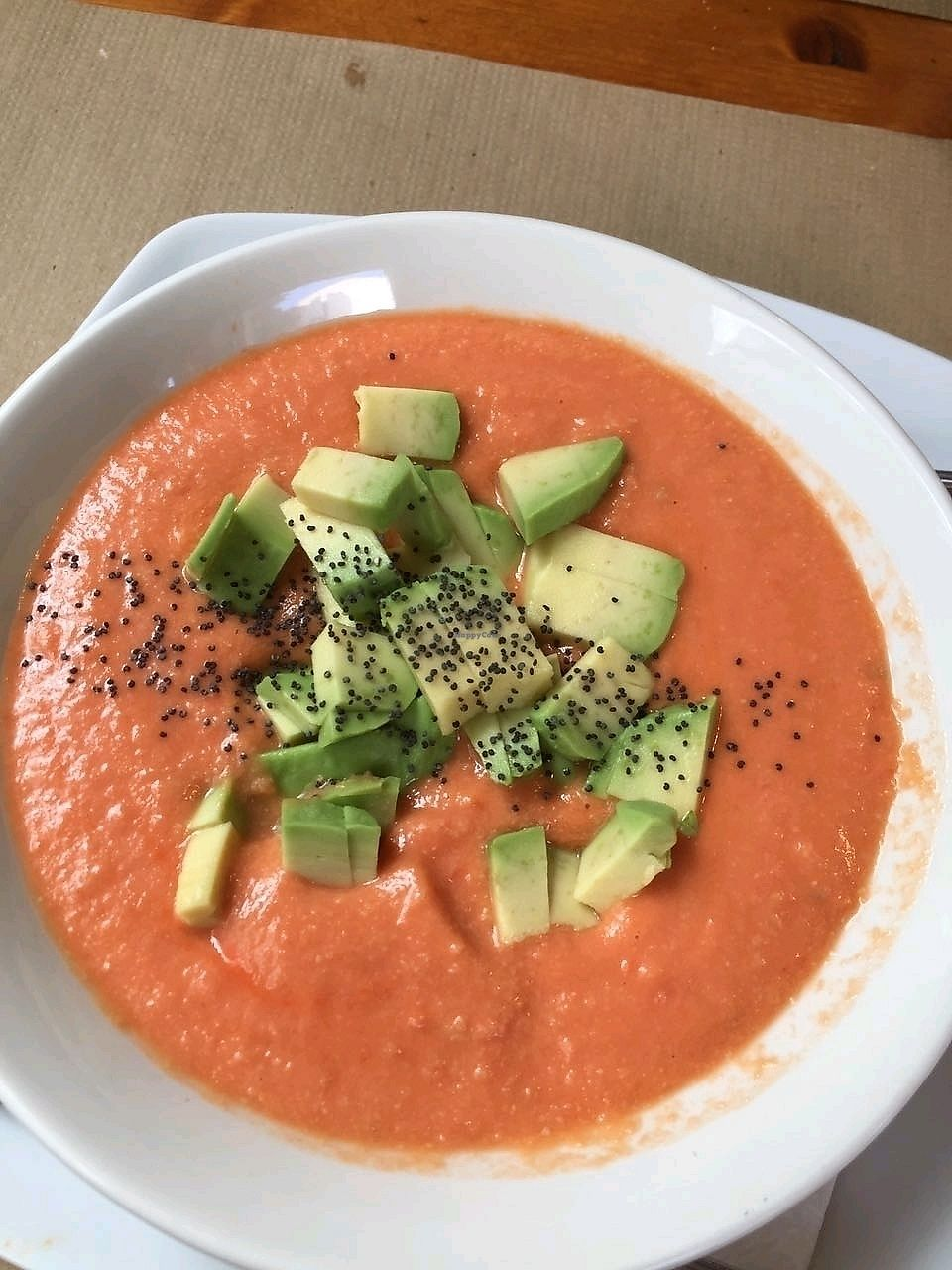 """Photo of Hicuri  by <a href=""""/members/profile/FlokiTheCat"""">FlokiTheCat</a> <br/>Salmorejo with avocado <br/> September 26, 2017  - <a href='/contact/abuse/image/6894/308794'>Report</a>"""