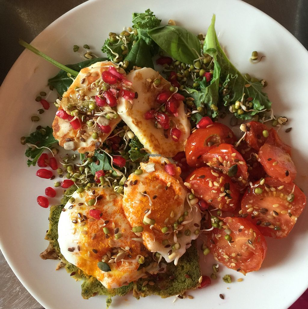 """Photo of Mama Ghanoushe  by <a href=""""/members/profile/RachaelElizabethBurr"""">RachaelElizabethBurr</a> <br/>Eggs with Halloumi on homemade spinach bread <br/> September 4, 2016  - <a href='/contact/abuse/image/68957/173630'>Report</a>"""
