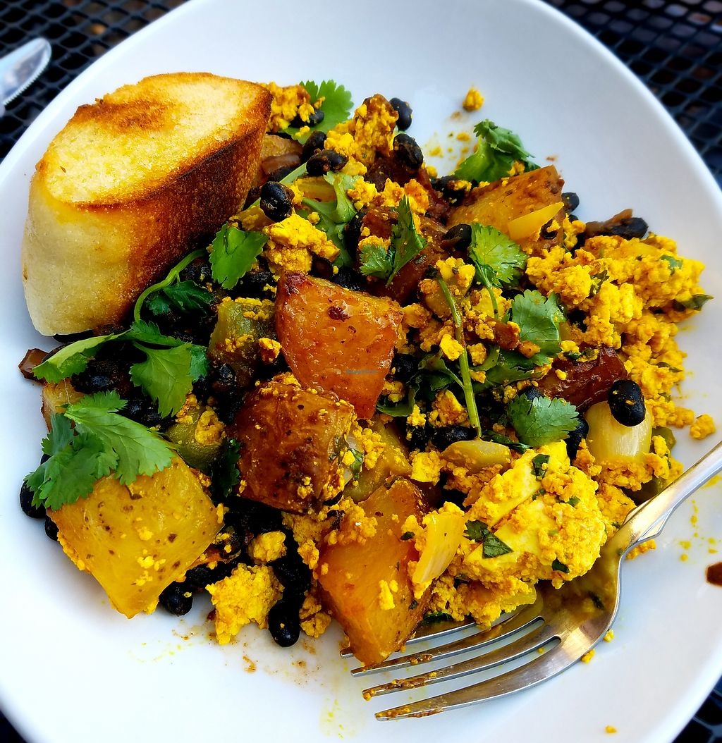"""Photo of The Mud House  by <a href=""""/members/profile/Ljenner"""">Ljenner</a> <br/>The Mud Slinger made vegan - potatoes, tofu scramble, black bean chili <br/> March 12, 2018  - <a href='/contact/abuse/image/69000/369848'>Report</a>"""